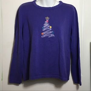 Christopher & Banks Purple Christmas Sweater SZ M